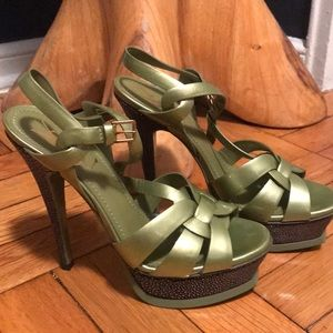 YSL tribute green patent leather stingray heels